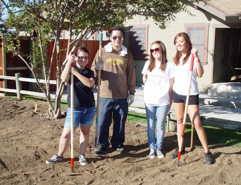 Garden is America's No. 1 exercise and hobby for young and old alike, as ULV students Brittney Alarcon, Jonathan Frankera, Kristine Mathisen and Amanda Flores demonstrate with their garden tools.