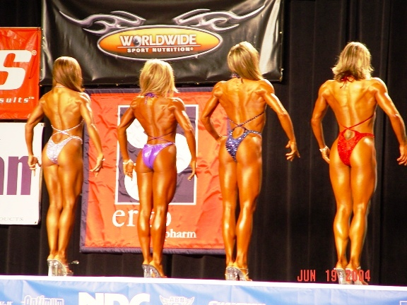 Competitors are judged on fitness, strength, coordination, flexibility, overall appearance and several other criteria. Abby, in this photo, is second from left.