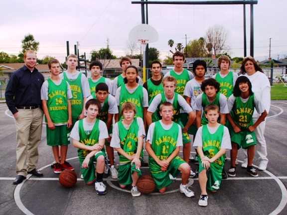 Ramona Middle School 8th grade boys basketball team:
