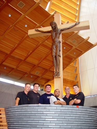 Jeff with his crew after installing a Crucifix at Christ the Light in Oakland.