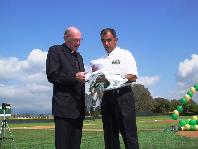 Father Pat Travers and Varsity Baseball Coach Al Leyva