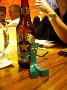 Don't bet against Gumby in a game of beer pong.