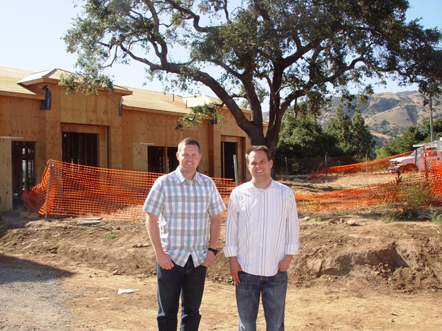 From left, Paul Pieroth and Steven Paul stand in front of their latest La Verne project, the Kiddie Academy due to be completed this winter.