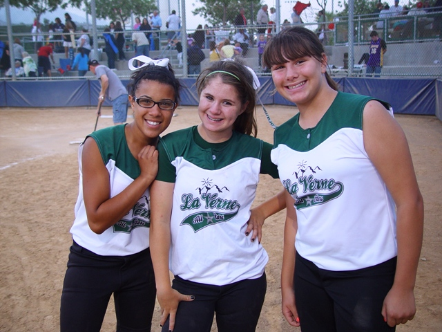 Homer Heroes: From left, Brittany Griffin, Lori Gatlin and Jenna Gonzalez each homered for the La Verne 12Us in their 17-3 victory over Temple City.