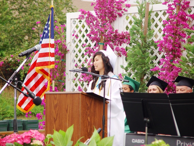 Anissa Leong delivers commencement address.