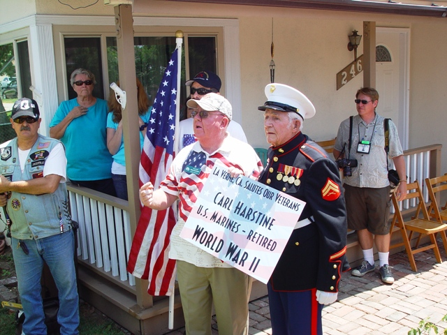 La Verne Chamber CEO presented Hartstine a sign honoring his service.