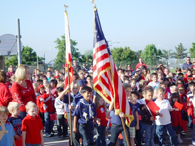 Oak Mesa displayed its true patriotic colors at the assembly ... and