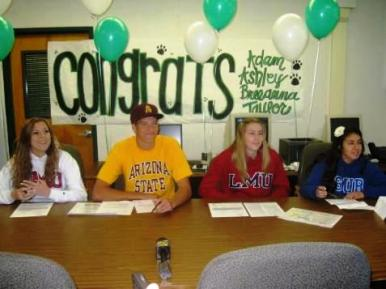 Ashley Maxfeldt, Adam McCreery, Taylor Anderson and Breeanna Sandoval signed national letters of intent on Wednesday at Bonita High School.