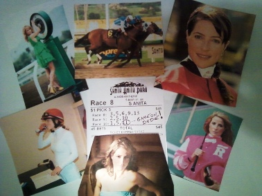 the many faces of Chantal Sutherland, surrounding the Sports Philosopher's winning Big Cap ticket