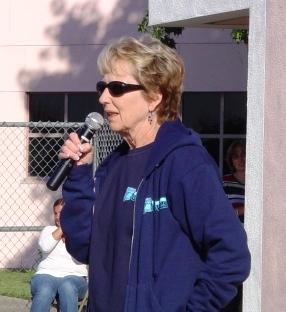 Karen Eberhart leads Patriot Day festivities at Oak Mesa.