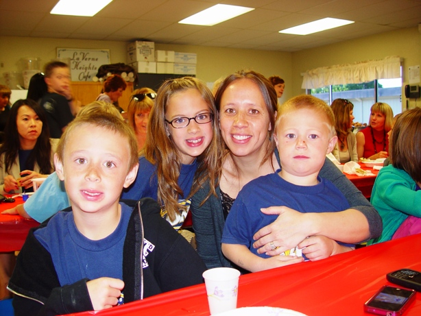 Mae Gill with her children Kayla, Jacob and Dylan.