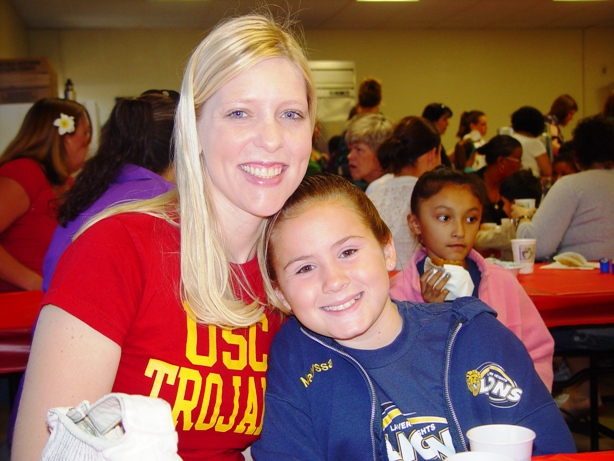 Rebecca Bartz with her niece, third-grader Maryssa Newell.