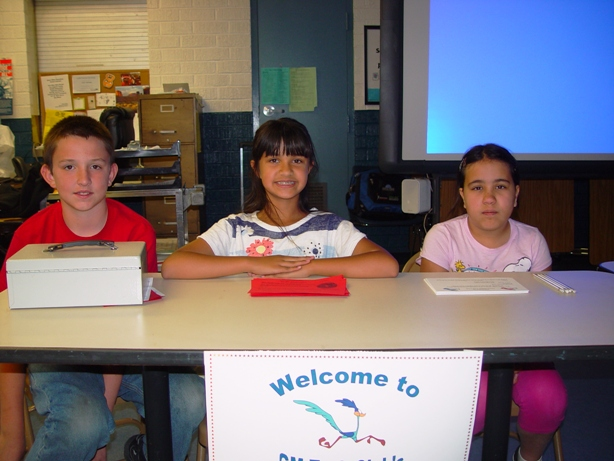 Tech Club Members Nick Maidens, Karina Murphy and Jacinda served on the Welcoming Committee.