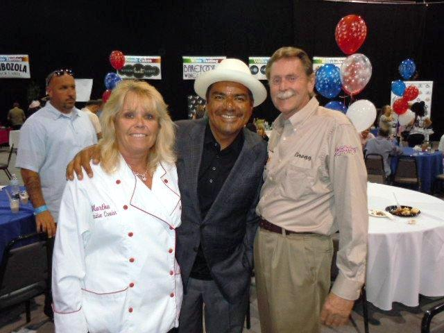 Martha Henderson with George Lopez and Greg at 4th of July Fundraiser.