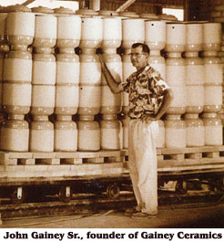 John Gainey, pictured in front of the company's trademark ollas, founded the company in 1949, when Southern California was a hot hub of ceramics manufacturers.