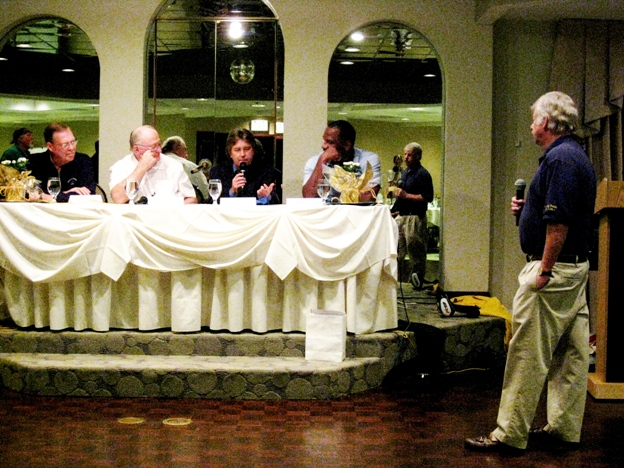 On the sports celebrity panel at the Sowing Seeds for Life charity tournament were, from left, Frank Hamblen, Bill Dwyre, Trevor Denman and George Lynch. The moderator, right, was Larry Stewart.