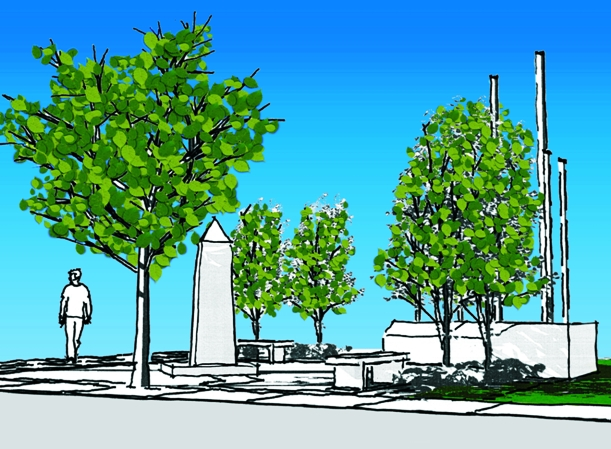 Artist's rendition of the planned Veterans Memorial.