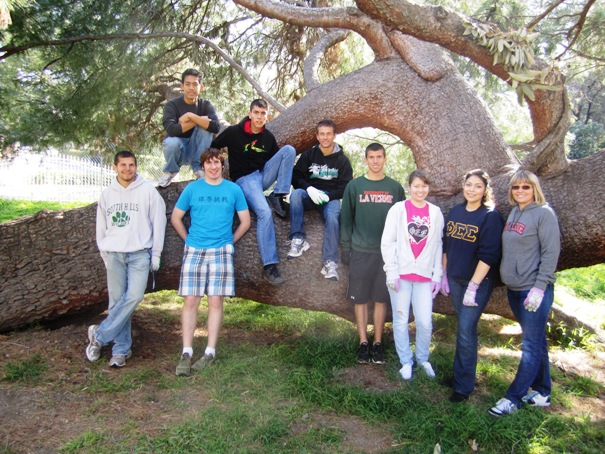 "Taking part in Sowing Seeds for Life project were La Verne students, from left, Matt Sustayta, Armando Capia, Lane Jackson, Albert ""Pablo"" Acosta, Jayden Earlywine, Ted Brestow, Cassandra Egan and Adriana Navarro. Far right is academic advisor Michelle Kechichian."