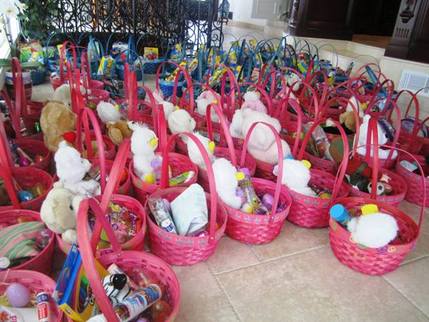 Some 100 Easter baskets are spread out on the living room floor at the D'Angelo home in Via Verde.