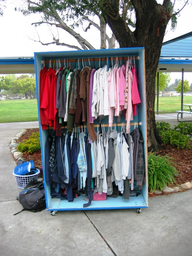Look closely, you just might spot your lost sweater or sweat shirt in the Found It on Friday storage bin.