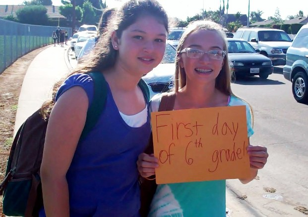 Twin sisters, from left, Giavana and Sophia Cockrell, were eager to start their first day at Ramona.