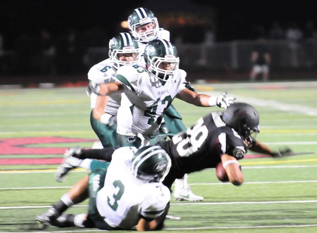 Bonita's stack defense formation led by Thomas Loy and Noah Montoya.