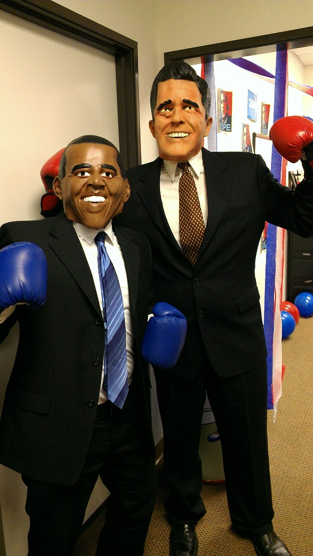 Obama is on the left, and Romney is on the right.
