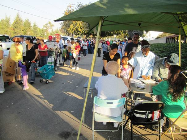 There were long lines of people awaiting food at the DPI Labs parking lot in La Verne.