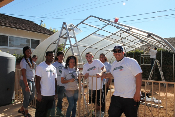 ULV volunteers working on the Sowing Seeds for Life project included, from left, Karla Jackson, Deanna Doss, Samuel Rhon, Imer Hernandez, Jessica Reeves, Donald Mull, and Rubin Vazquez. Rhon, Mull and Vazquez were on the ULV football team, the others are on the track and field teams.