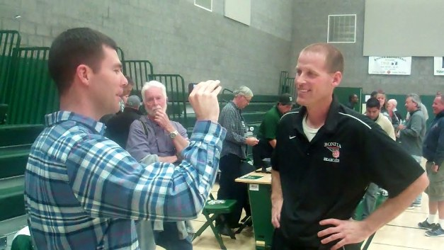 Bonita head coach Darren Baumunk expresses joy and relief after Bonita's uphill victory against Mira Costa. Interviewer is San Gabriel Valley Tribune's Clay Fowler.