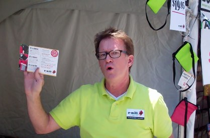 Brian Byers emitted great energy explaining the benefits and features of the E-Mitt.