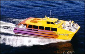 The AquaLink bus will zip you around Long Beach port in high style.
