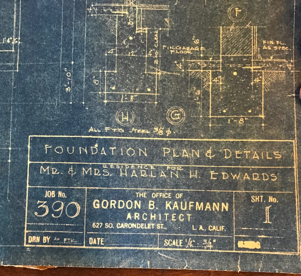 Kaufmann's blueprints for Harlan Edwards' new home.