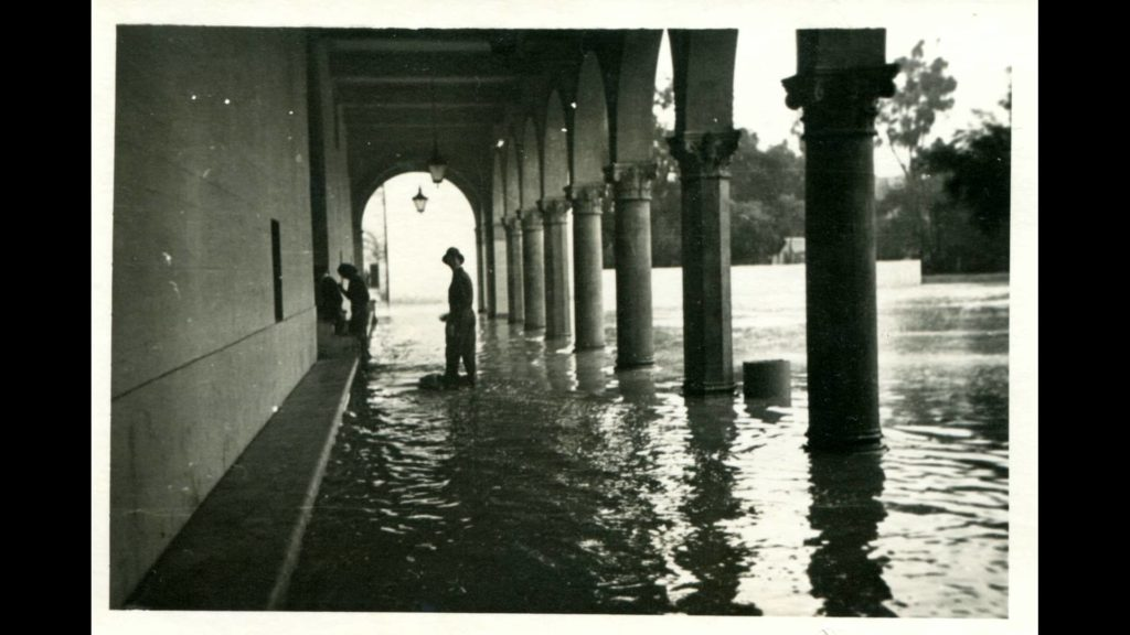 A campus under water. Photo courtesy of Claremont Heritage.